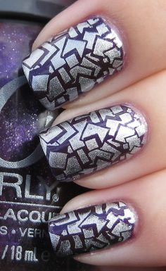 Purple and silver - Nail art #manicure