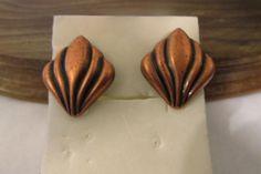 Unique Vintage Copper Geometric Shape Sculptured Post Drop Earring #DropDangle