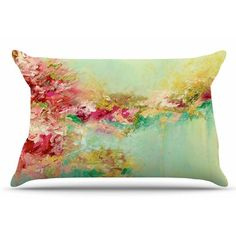 East Urban Home Ebi Emporium 'When Land Met Sky 3' Pillow Case Color: Red/Green
