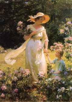 """""""Among the Laurel Blossoms"""" by Charles Courtney Curran"""