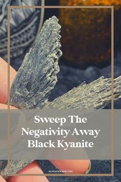 You'll want to have a Black Kyanite blade to serve as your personal protection agent. Black Kyanite is one tool that you'll want in your spiritual toolbox. When we talk about multi-purpose tools, this crystal is one of them. It is a crystal to balance your chakras, a crystal to balance, a crystal for protection, a crystal to cleanse your energy, and a crystal for your intuition. Place it on any chakra that you feel needs alignment or dissolve energy blockages for 10 minutes per chakra. Shop… Chakra Crystals, Crystals And Gemstones, Stones And Crystals, Crystals For Manifestation, Meditation Crystals, Crystals For Sleep, Crystal For Anxiety, Crystal Guide, Crystal Meanings