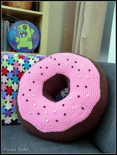 Crochet donut pillow ... For high quality bakers boxes please visit us at http://www.betterbakersbox.com/