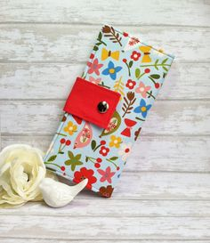 Floral and bird print wallet, womens wallet, bifold wallet, handmade wallet, credit card wallet, slim wallet, bill wallet, fabric wallet