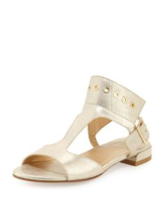 Cuffy+T-Strap+Grommet-Detail+Sandal,+Ore+by+Stuart+Weitzman+at+Neiman+Marcus+Last+Call.