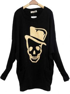 Skull Bat Sleeve Faux Rabbit Sweater Black$40.00, i dig it, especially the top hat ;P Pair it with some shredded leggins and ankle boots and there u go!