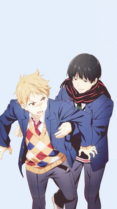 Kyoukai no Kanata hehehehe the bromance between these two