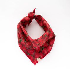 ELLIE. Dog bandana or baby bib in strawberry print with red trim. Sizes: XS - XL. For the sweetest pooch or baby on the block who loves red strawberries! Good enough to eat. $26.