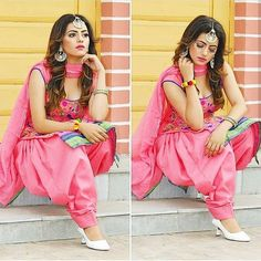 Image may contain: 2 people, shoes Patiala Suit Designs, Sari Blouse Designs, Salwar Designs, Indian Dresses Traditional, Patiyala Dress, Punjabi Girls, Punjabi Couple, Punjabi Suits Designer Boutique, Salwar Suits Party Wear
