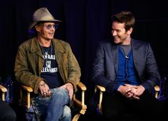 Actor Johnny Depp (L) and actor Armie Hammer attend The Lone Ranger fan event and global trailer launch at the AMC Town Square 18 theatres on April 17, 2013 in Las Vegas, Nevada.    #theloneranger #loneranger #JohnnyDepp #depp #armiehammer #armie hammer #movie #movies #celebrity #celeb #celebs #actor