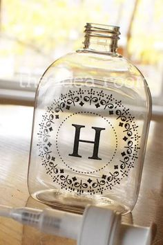 monogrammed hand sanitizer/soap bottles... DIY
