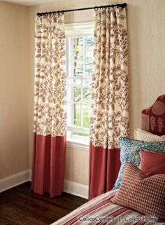 Print on top and plain on bottom perfect for those ready made curtains that are too short.....just add a complementing color!