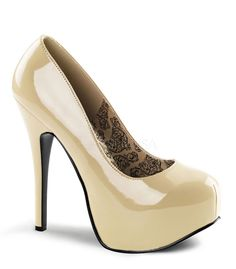 "Teeze pump in cream patent has a 5 3/4"" heel with 2"" concealed platform. Bordello Shoes offers a large selection of sleek to shiny patents, satin, sparkly glitters, sequins, fringe and rhinestone shoe"