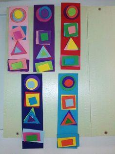 Art Activities For Kids, Preschool Activities, Art For Kids, Shape Collage, Shape Art, Kindergarten Art Lessons, Art Lessons Elementary, Arte Elemental, Math Art