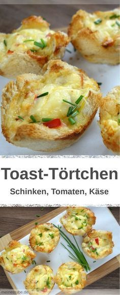 Toast-Törtchen mit Schinken, Tomaten und Käse – MeineStube Recipe for delicious toast tarts with cooked ham and tomatoes. Bake with a cheese and egg mixture. Ideal as breakfast or cold on the go. Quick Recipes, Egg Recipes, Brunch Recipes, Appetizer Recipes, Breakfast Recipes, Tart Recipes, Snacks Pizza, Party Snacks, Tostadas