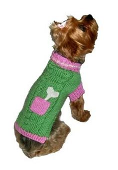 Bone on Board Dog Sweater for Her, hand knit, $26-30, from SimplyDogStuff.com. This darling hand knit green and pink sweater is 100% acrylic and come in sizes 6-18. It is machine washable. To determine size, measure from the base of the neck to the base of the tail.