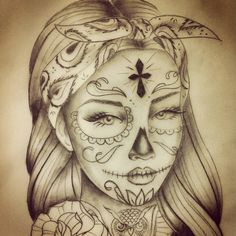 Catrina With Flower Tatto On Leg