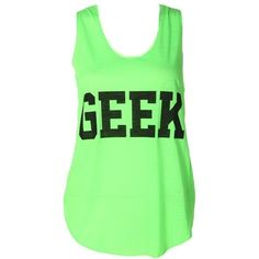 NEW LADIES NEON GEEK PRINT SLEEVELESS TOP WOMEN SUMMER T-SHIRT VEST... ❤ liked on Polyvore featuring tops, shirts, tank tops, blusas, tanks, fish tank, neon green shirt, neon shirts, neon tank top and summer shirts