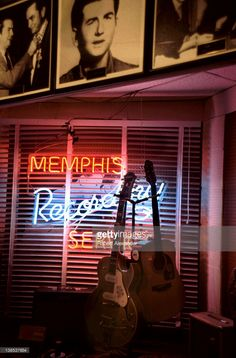 Guitars are displayed at Sun Studio, known as the 'Birthplace of Rock 'n' Roll.' Originally named the Memphis Recording Service, the historic studio was operated by rock pioneer Sam Phillips and is where Elvis Presley recorded his first record in 1954. Johnny Cash, Jerry Lee Lewis and Roy Orbison also began their careers with records recorded at the Memphis, Tennessee, landmark. The Memphis Recording Service shared the same building with the Sun Records label business on Union Avenue in…