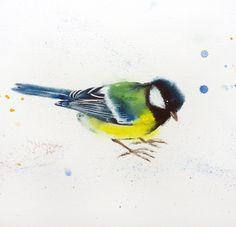 Great tit #3 - bird, birds, animals, wildlife watercolour painting (2016) Watercolor by Olga Beliaeva   Artfinder