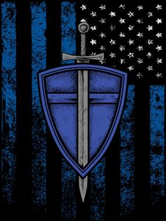 Saint Michael poster for police officers, police veterans, and police supporters. Police Officer Gifts, Police Gifts, Thin Blue Line Flag, Thin Blue Lines, Blue Templar, St. Michael Tattoo, St Michael Police, Police Shield, Shield Tattoo