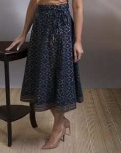 Cotton Printed Khari Short Skirt. fabindia