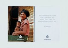 Holiday Cards that Save Lives - CleanBirth - Saving Mothers and Babies in Laos Baby Shower Hostess Gifts, Baby Shower Favors, Mom Cards, Mothers Day Cards, 2nd Birth, Mom Day, Save Life, New Moms, Small Gifts