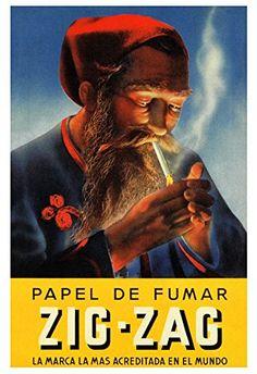 Zig Zag papier à cigarettes Vintage Advertising Posters, Vintage Advertisements, Vintage Posters, Framed Maps, Framed Art Prints, Poster Prints, Pictures To Paint, Print Pictures, Movie Poster Frames