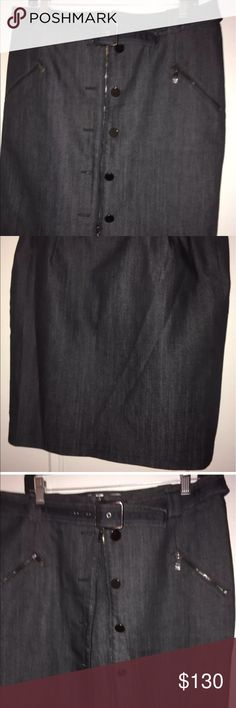 Unique Worth Black Denim Skirt Size 14 Great Buy! Black Denim Skirt With Zippers and Buttons Size 14 Worth Skirts Midi