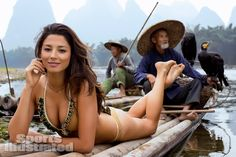 Jessica Gomes was photographed by Derek Kettela in  Guilin,Guangxi Province,China. Swimsuit by Kate Swim.