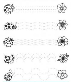 ladybug trace line worksheets (1) | Crafts and Worksheets for Preschool,Toddler and Kindergarten