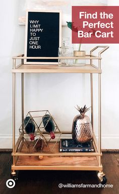 Bar carts are a hosting must-have! Find the perfect bar cart for your coffee, cocktail or mimosa bar.