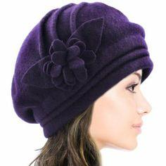 Dahlia Women's Elegant Flower Wool Cloche Bucket Slouch Hat