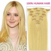 22 Inch 10pcs Straight Clip In Remy Hair Extensions 155g (#60 White Blonde)