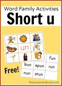 Word Family Activities for Short u (final set of short vowel Read 'n Stick!) - The Measured Mom - Free short u word family mats with matching word cards. Laminate and attach Velcro dots, or use as - Word Family Activities, Phonics Activities, Reading Activities, Educational Activities, Kindergarten Reading, Teaching Reading, Teaching Kids, Teaching Phonics, Jolly Phonics