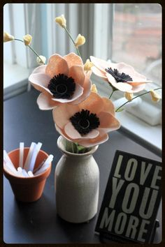 Blush Pink Anemone Bouquet. Sweet Valentine's by TheFeltFlorist, $38.00