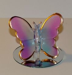 "Light Pink/Blue Frosted Glass Butterfly on Mirror Decorative Figurine 2"" Tall"