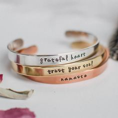 Be in alignment with your soul's purpose by wearing the message you need most. Like a meaningful tattoo that you can take off and switch out for another, this customized bracelet will serve as a treasured gift for yourself or another.