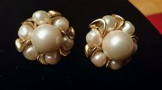 Vintage gold tone and pearl earrings pierced Pierced Earrings, Pearl Earrings, Retro Costume, Pearls, Gold, Ebay, Vintage, Shop, Jewelry