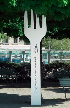 Giant Fork for tibits (vegetarian) Restaurant, Switzerland. Inscription on Fork: Very, very fresh vegetarian food.