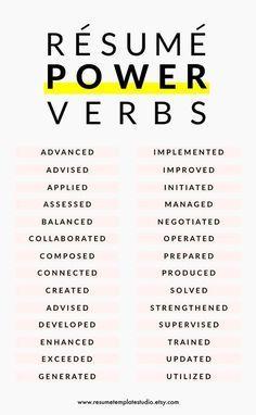 Resume tips, resume skill words, resume verbs, resume experience Basic Resume Examples, Professional Resume Examples, Resume Power Words, Resume Verbs, Resume No Experience, Life Hacks, House Hacks, Visual Resume, Sales Resume