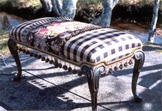 Country French Bench - this reminds me of a coffee table I converted into a bench and covered in red toile