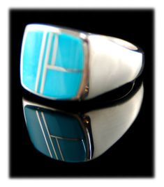 Sleeping Beauty Turquoise Inlay Mens Ring