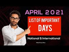 List of Important Days in April 2021 | Full List of National & International Days in April 2021 - YouTube Important Days In February, Special Days In November, List Of Important Days, January, Days And Months, Months In A Year, 31 Days, National And International Days, Easy Drawings For Beginners