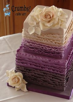 Love the shading from deep eggplant, through plum, purple, lavendar and lilac up to a beautiful ivory top!