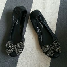Audrey Brooke 8 black rhinestone flats Worn once Excellent condition  Few scuffs on sole Size 8 Audrey Brooke Shoes Flats & Loafers