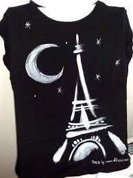 I love paris Umgestaltete Shirts, Paint Shirts, T Shirt Painting, Fabric Painting, Painted Clothes, Painted Shoes, T Shirt Remake, Shirt Drawing, Sheer Wedding Dress