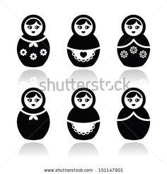 Illustration about Russian folk art - nesting wooden doll design in black on white. Illustration of matrioska, matreshka, grandma - 56300048 Vector Shapes, Vector Icons, Doll Drawing, Russian Folk Art, Matryoshka Doll, Stencil Diy, Stencils, Button Art, Silhouette