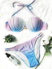 Bikini Coquille Sirène Couleur Ombrée - Bleu + Violet