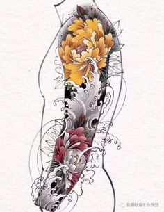 Japanese Flower Tattoo, Japanese Dragon Tattoos, Japanese Tattoo Designs, Japanese Sleeve Tattoos, Full Sleeve Tattoos, Japanese Flowers, Tattoo Sleeve Designs, Flower Tattoo Designs, Tattoo Designs Men