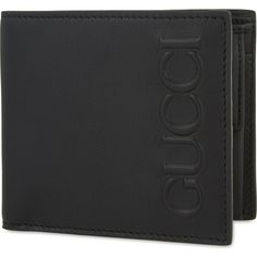 GUCCI Embossed coin billfold wallet ($360) ❤ liked on Polyvore featuring men's fashion, men's bags, men's wallets, mens coin wallet, mens snap wallet, mens leather credit card holder wallet, mens leather wallets and gucci mens wallet